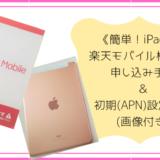 《簡単!iPad用》楽天モバイル格安SIMの申し込み手順と初期設定方法を紹介!(画像付き)